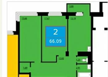 2-к квартира, 66 м2, 23/25 эт. Преображенский д. 13