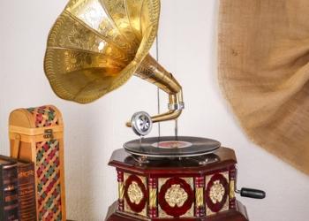 "Граммофон труба латунь ""Царский тёмный"" (пластинка в комплекте) 70х37х37 см"
