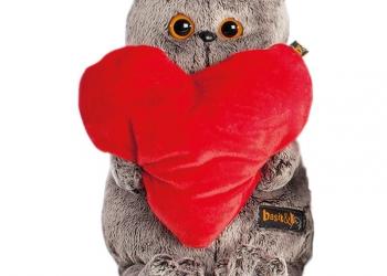 Кот Басик с сердечком (30см)