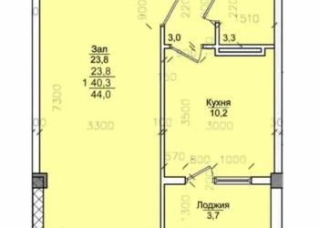 1-к квартира, 44 м2, 3/7 эт.