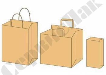 бумажные пакеты из крафта бурого с плоскими и кручеными ручками