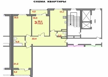 3-к Продам 3-х комнатную квартиру, 112 м2, 8/14 эт. В центре города