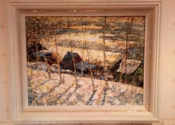 Картина Сельский пейзаж зимний