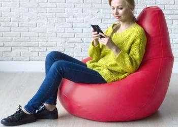 Кресло-груша, Комфорт, красный, экокожа, магазин Сhildelune