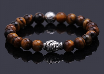 Браслет Будда серебряный тигровый глаз (RМ114)