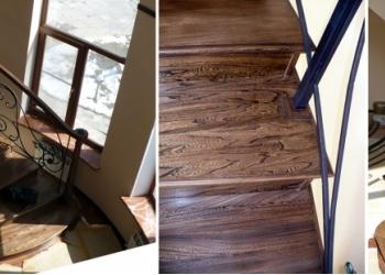 Ступени и элементы лестниц из массива карагача, ореха, тика, дуба