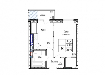 1-к квартира, 36 м2, 14/19 эт.