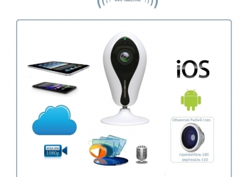 Видеоняня /WiFi IP видеокамера панорамная 180*110* с DVR (fishEC12 белая)