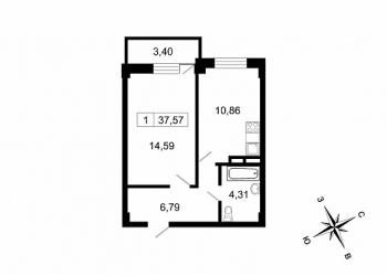 1-к квартира, 38м2 На берегу Невы