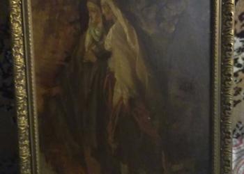 Картина старинная 1885 год Масло Дерево автор неизвестен