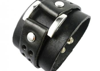 Мужской кожаный браслет Valiance чёрный (RМ117)