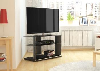 стол TV-2680 черный, стекло