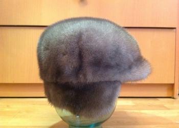 Шапка женская из серой норки, разм. 54-55