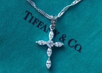 Подвеска Крестик Zirconia Tiffany Style в стиле тиффани на цепочке