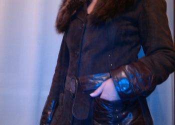 пальто кожаное утепленное со съемным воротником