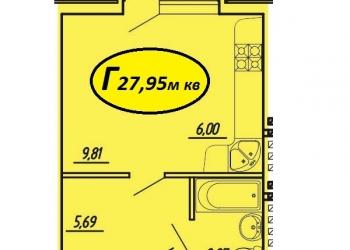 1-к квартира-студия, 28 м2, 5/5 эт.