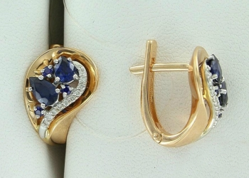 Золотые серьги с сапфирами и бриллиантами. Продажа ювелирных изделий в ломбарде