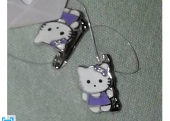 Детские  серьги-серебро, hello kitty