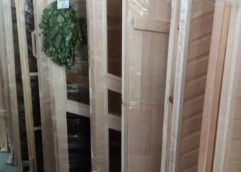 Банные двери Липа (термо, глухие, со стеклом и рисунком)