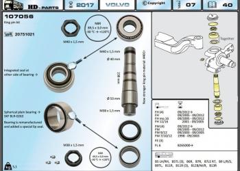 Ремкомплект шкворня с подшипником Volvo 20751021 (HD 107056)