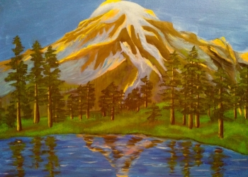 "Картина пейзаж ""Горы и озеро на закате"""