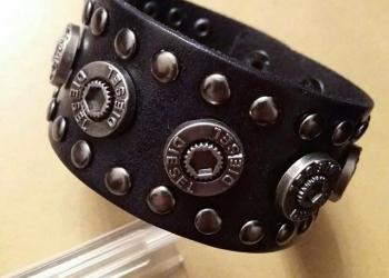 Мужской кожаный браслет Diesel Round чёрный (RМ146)
