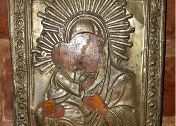 Икона хромолитографическая печатная. Владимирская Пресвятая Богородица в ...