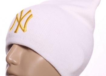 Шапка New York белая длинная с вышивкой хип хоп с доставкой по России