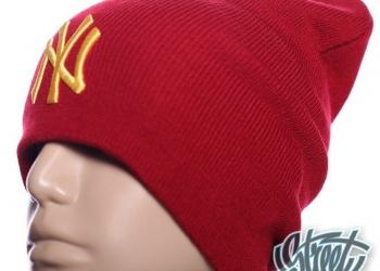 Шапка New York длинная красная с логотипом хип хоп с доставкой по России