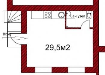 1-к квартира, 29,5 м2, 1/2 эт.