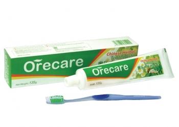 Зубная паста Orecare с экстрактами китайских целебных трав (с зубной щеткой)