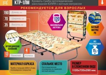 КТР-1ЛМ Кровать-тумба ортопедическая раскладная ЮЛИЯ с ватным матрасом