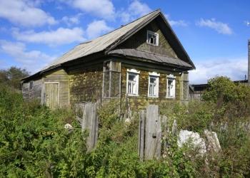 Бревенчатый дом в тихой деревне рядом с лесом, на берегу речки,