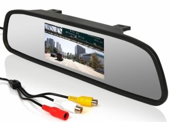 Зеркало с монитором для камеры заднего вида, DVD, магнитолы, 2 видео выхода