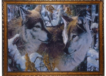 """Картина """"Молодые волки"""" из натурального канмя"""