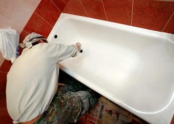 Эмалировка - реставрация ванн спец-эмалью Tikkurila Reaflex 50 в Омске