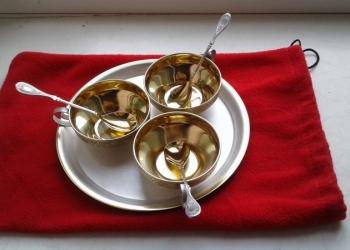Мельхиоровый с позолотой кофейный сервиз